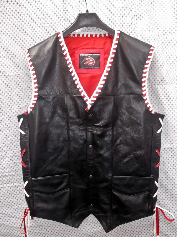 Lederweste Geflochten MLVB730RW www.leather-shop.biz front pic
