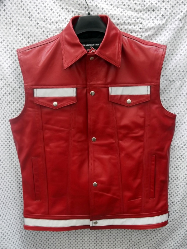 Leather vest style mlvr1331 reflective stripes www.leather-shop.biz front pic