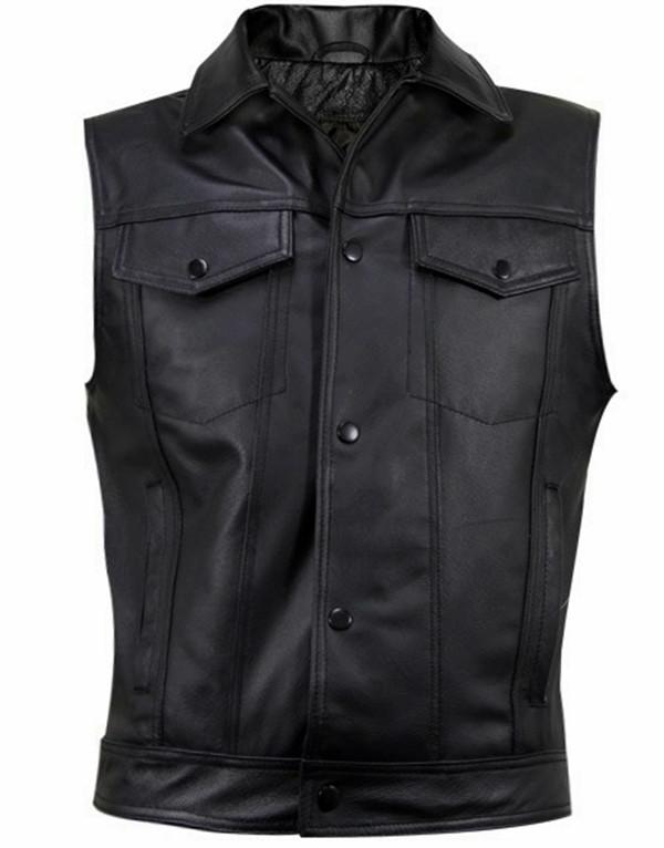 Leather Vest Jeans Style MLV1331 www.leather-shop.biz front pic