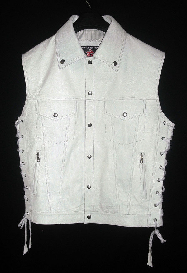 Leather vest with lace side adjustment MLV1310 www.leather-shop.biz front pic