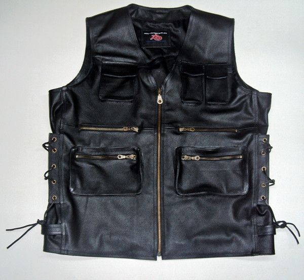 Leather vest style MLV1363L www.leather-shop.biz front pic