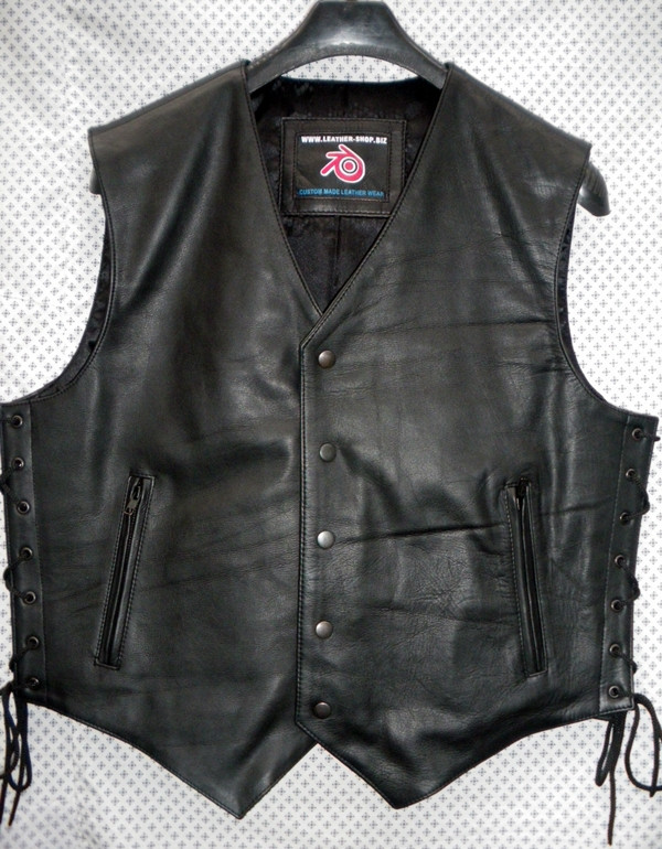 Leather Vest Style MLV740 no seams WWW.LEATHER-SHOP.BIZ front pic