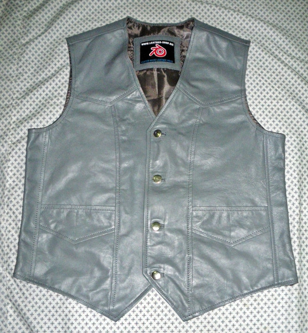 Leather vest style MLV720 Gray WWW.LEATHER-SHOP.BIZ front pic