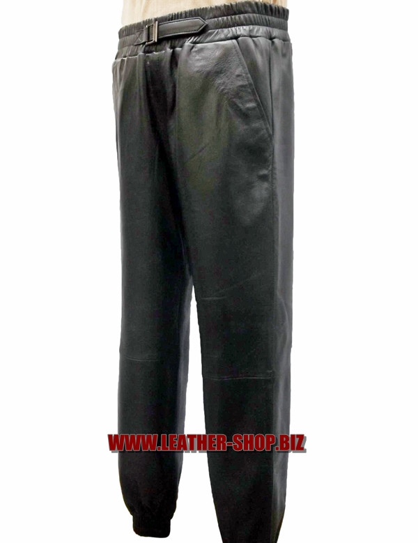 Leather sweat pants style LSP006 WWW.LEATHER-SHOP.BIZ custom made front/side pic