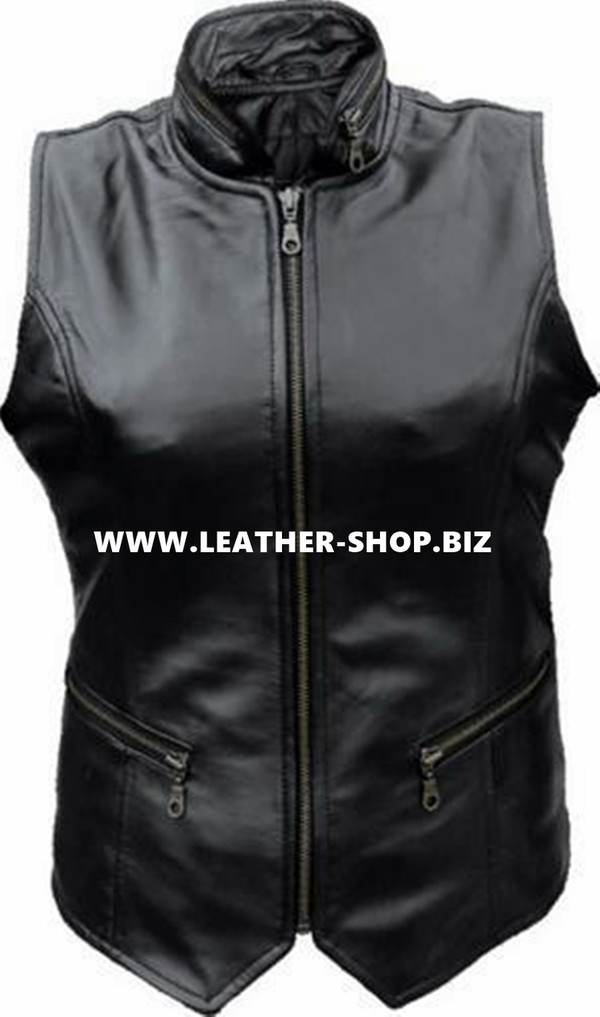 Ladies Leather Vest Style WLV1300 available in all sizes