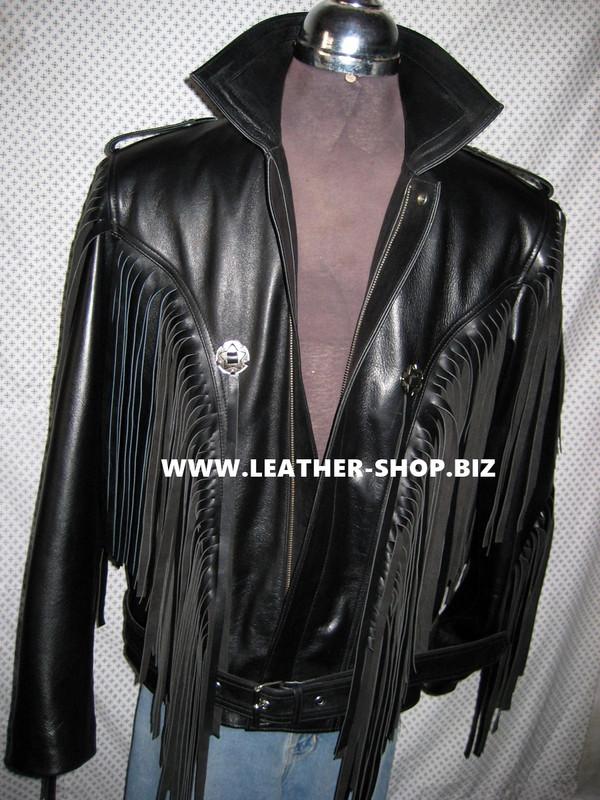 Fringed leather jacket custom made style MLFJ201 black WWW.LEATHER-SHOP.BIZ  front unzipped pic