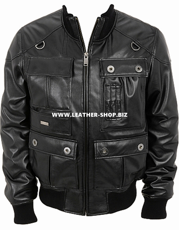 Leather Jacket Bomber Style MLJ0024B Custom Made In 8 Colors