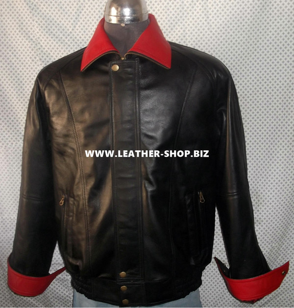 Leather Jacket Bomber Style MLJ0033B French Cuffs Custom Made In 8 Colors