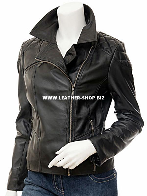 Korisnička kožna jakna za žene LLJ603 ispred slike