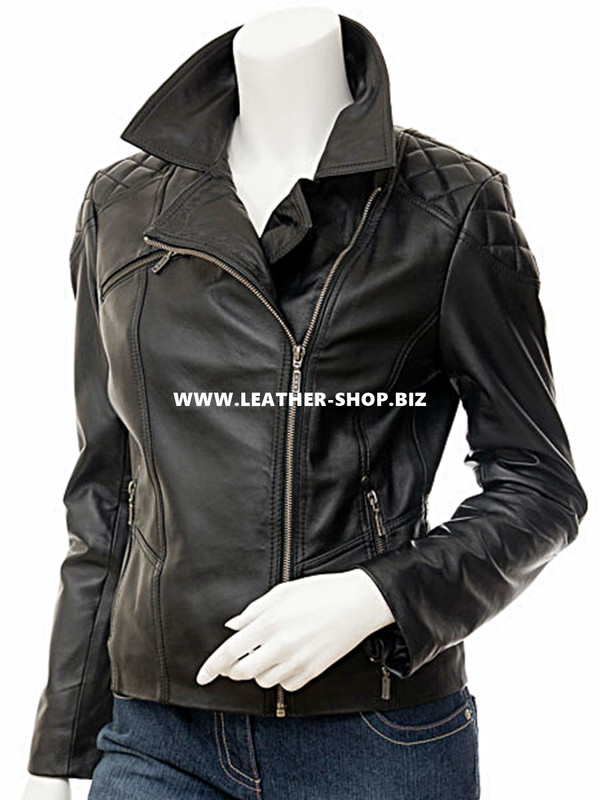 Custom leather jacket for ladies LLJ603 front picture