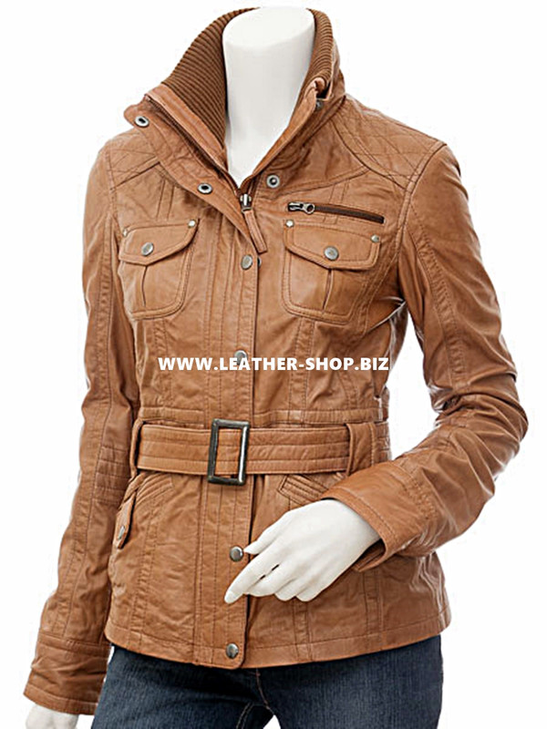 Leather jacket custom for ladies LLJ609 jacket front picture