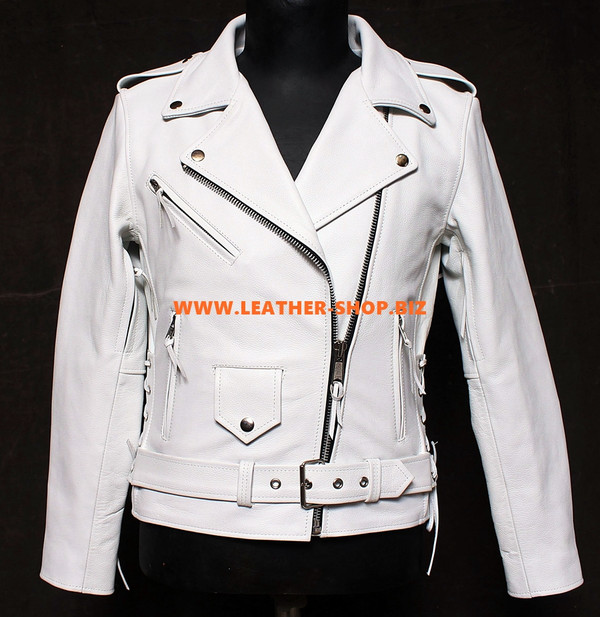 Ladies Leather Jacket Custom Made Biker Style LLJ007 Made In 9 Colors