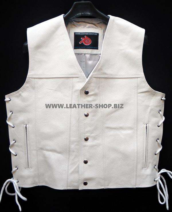 Mens Leather Vest Style MLV1340 no seams on back