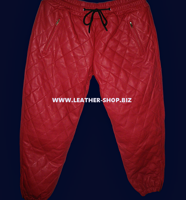 رجل عرق جلد الخروف سروال نمط LSP111 الماس / خياطة مبطن