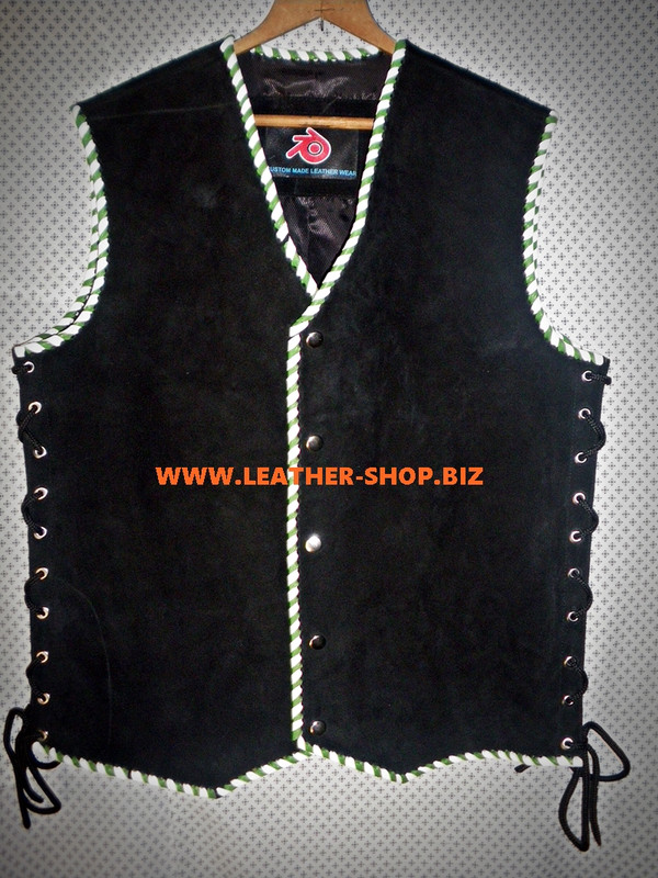 Suede Leather Vest Braided Biker Style MLVB840 8 Colors Available