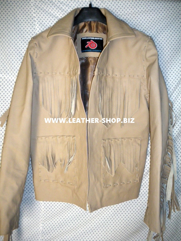 Leather Jacket With Fringe Style MLJF256 Custom Made In 8 Colors