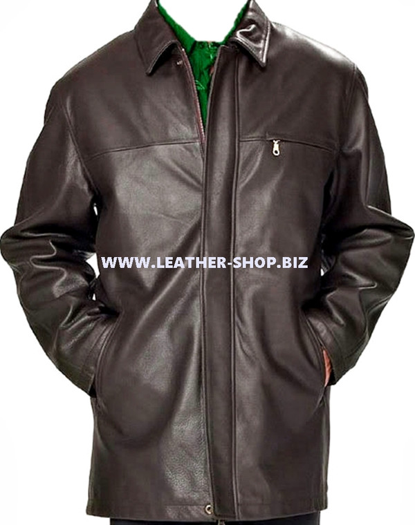 Men's leather Long Coat custom made style MLC536