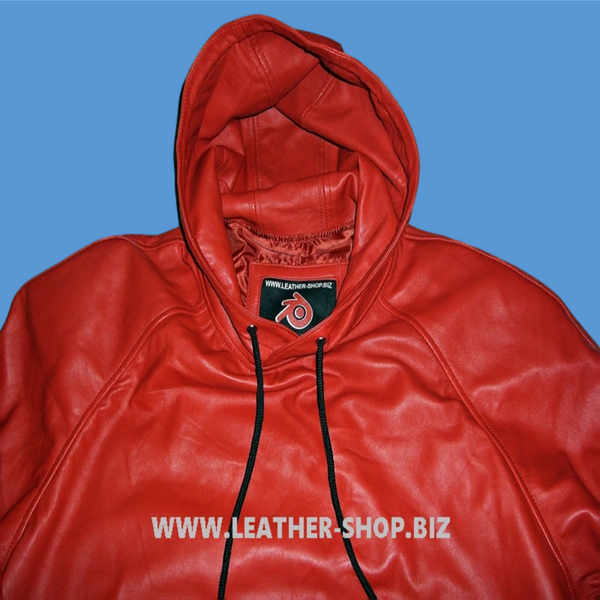 Leather Hoodie with Leather Lined Hood and Pockets Style LLH081