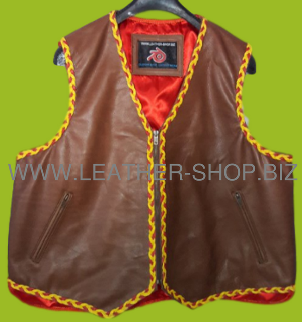 Mens leather vest with 2 colored braid style mlvb725 front pic.