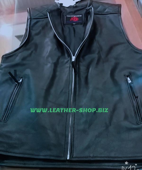 Mens biker Style Leather Vest MLV1375 www.leather-shop.biz front of vest pic 2