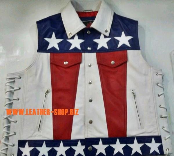 Американски флаг кожена жилетка стил MLV1310A leather-shop.biz предната част на жилетката pic1