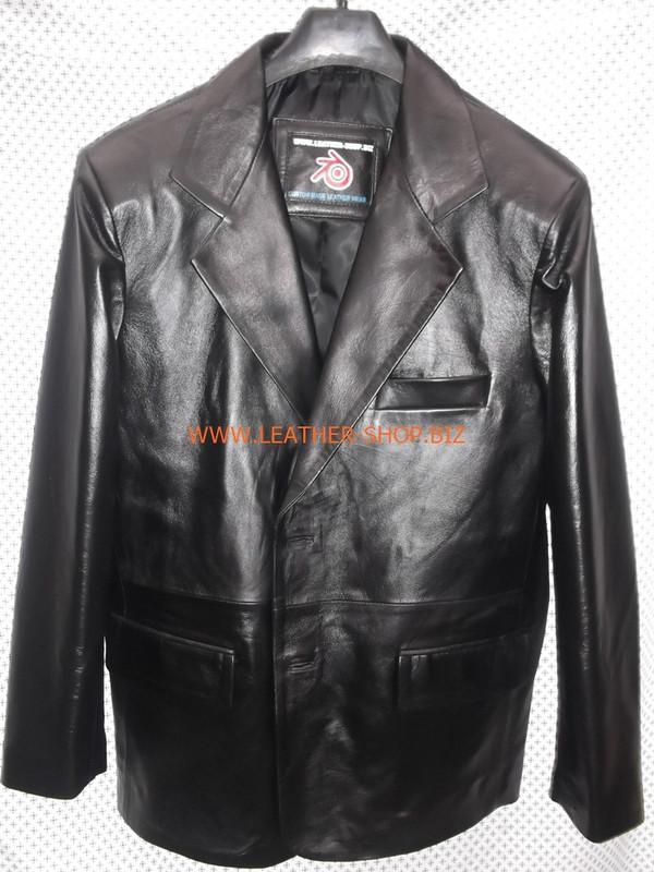 Mens black leather coat blazer style MLC0033 custom made LEATHER-SHOP.BIZ  front pic of coat 1