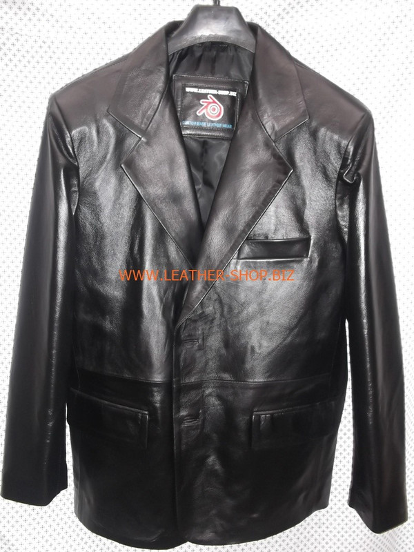 Mens black leather coat blazer style MLC0033 custom made LEATHER-SHOP.BIZ  front pic of coat 1