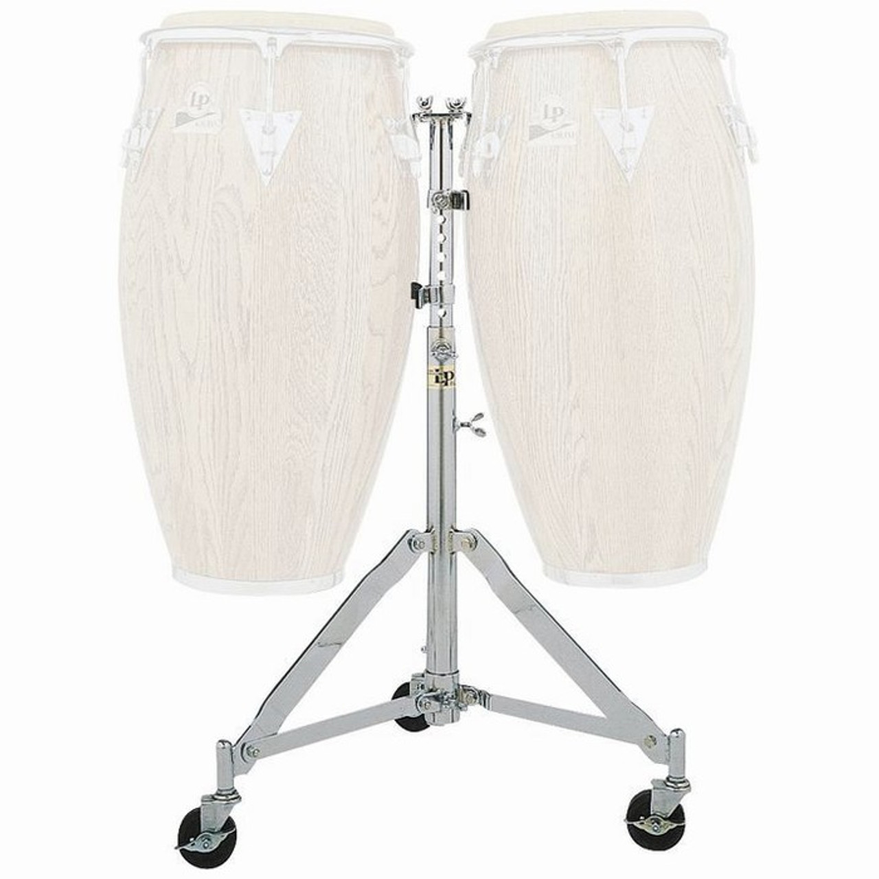 LP290S LP LATIN PERCUSSION SLIDE MOUNT DOUBLE CONGA STAND w// CASTERS