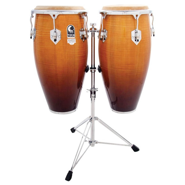 Elite Pro Wood Conga Set with Double Stand, Natural Maple Fade (3100NF)