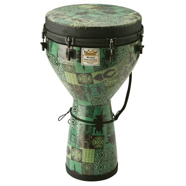 "Remo Designer Series Djembe, Key-Tuned, Green Kintekloth - 14""x25"""