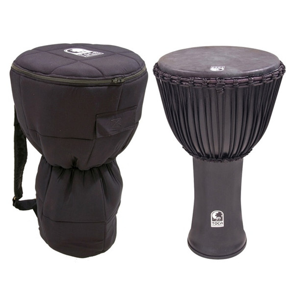 """Toca Freestyle Canon Djembe 14"""" with Bag, Black Mamba"""