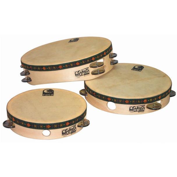 Toca Wood Tambourine with Head, Steel Jingles