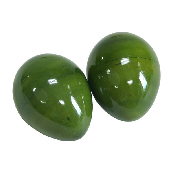 Green Wooden Egg Shakers, Pair