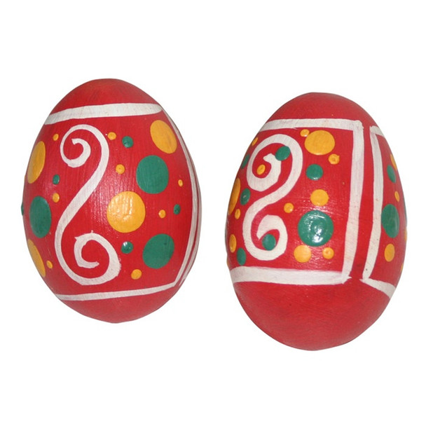 Pink Hand Painted Wooden Egg Shakers, Pair