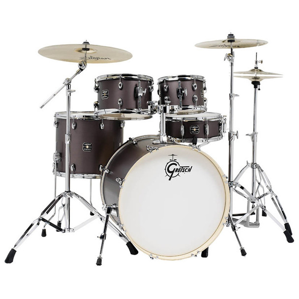 Gretsch Energy 5-Piece Kit with Full Hardware Package & Zildjian Cymbals Brushed Grey