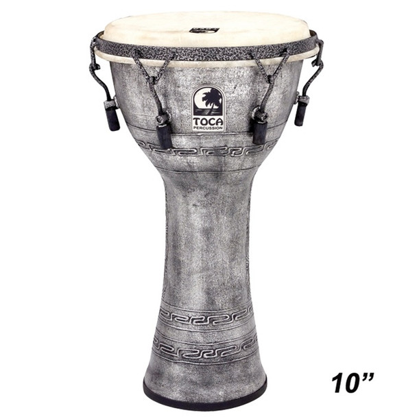 "Toca Antique Silver Mechanically Tuned Djembe, 10"" Head x 18"" Tall"