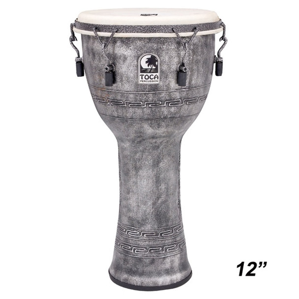 """Toca Antique Silver Mechanically Tuned Djembe, 12"""" Head x 24"""" Tall"""