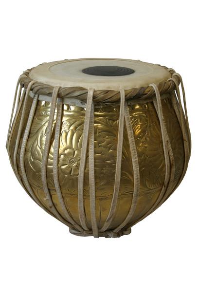 banjira Pro Embossed Brass Bayan Tabla - Bayan Only * Blemished