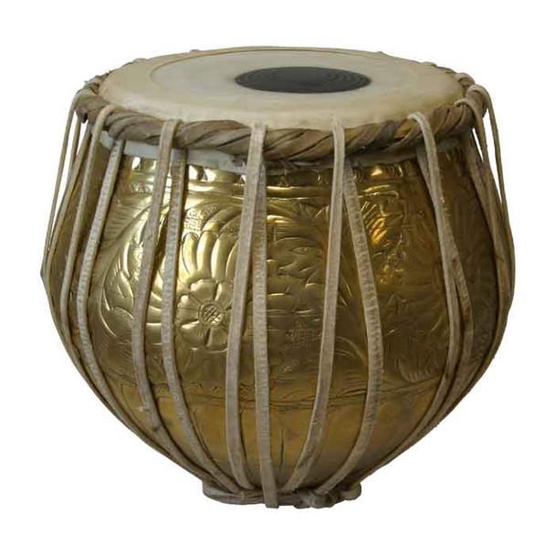 banjira Pro Embossed Brass Bayan Tabla - Bayan Only