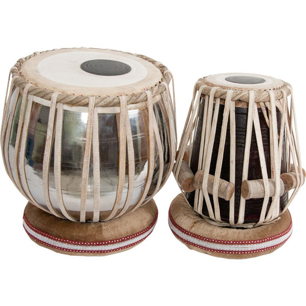 "banjira Pro Tabla Set Heavy Nickel Plated Brass Bayan and 5.25"" Dayan"