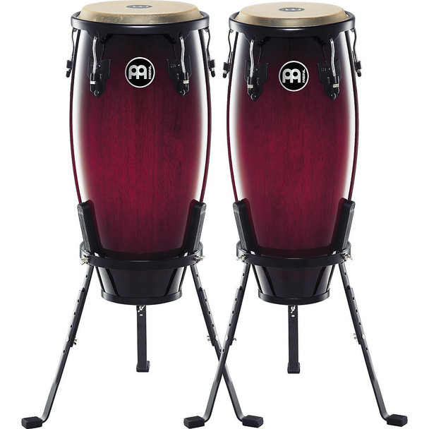 Meinl Headliner Wood Congas 10 in. & 11 in. Set, Incl. Basket Stands Red Wine Sunburst