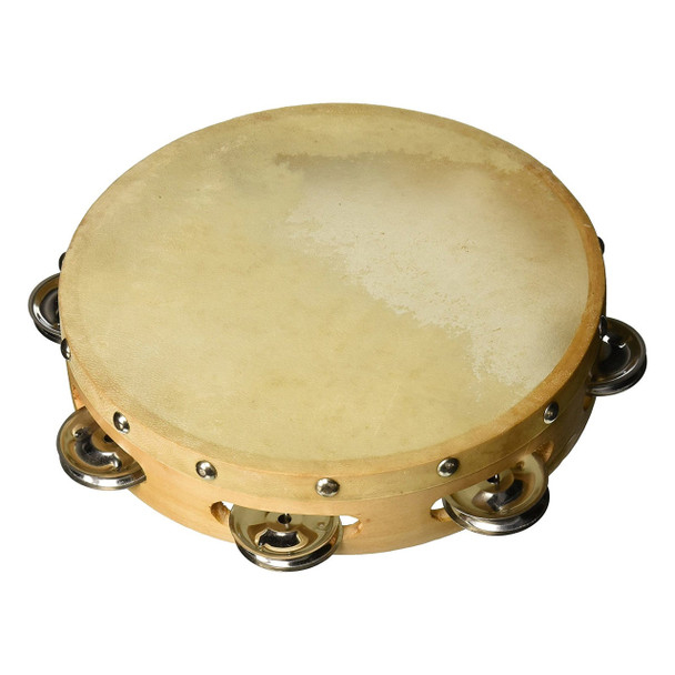 "8"" Wood Tambourine, Goatskin Head"