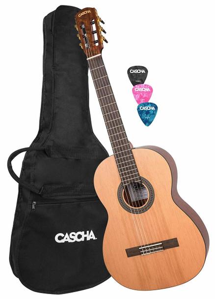 CASCHA Classical Guitar 4/4 Full Size, including Gigbag and 3 Picks