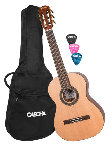 CASCHA Children's Classical Guitar 3/4 Size Including Gigbag and 3 Picks, Nylon Strings