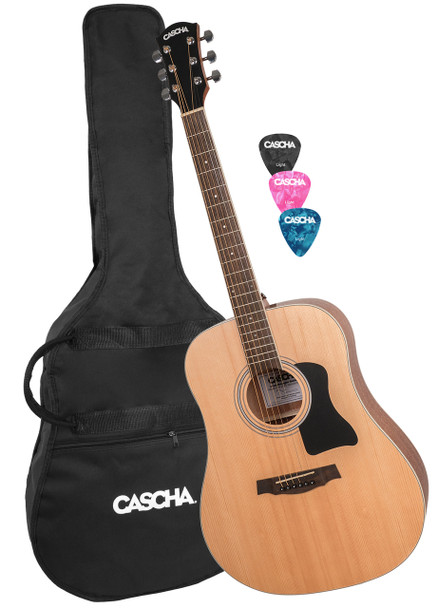 CASCHA Acoustic Guitar w/ Gigbag and 3 Picks