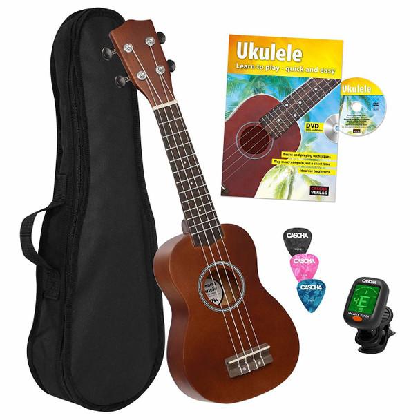 CASCHA Soprano Bundle Ukulele Starter Set with Bag, 3 Picks, Ukuele Method, Tuner