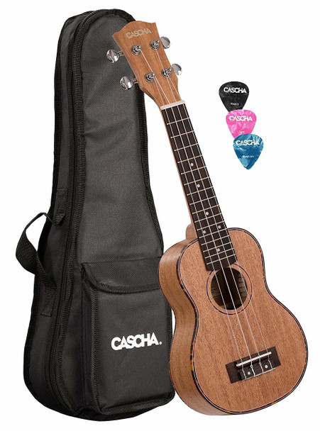 CASCHA Premium Mahogany Soprano Ukulele Set with Padded Bag and 3 Picks