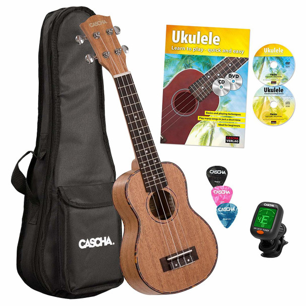 CASCHA Premium Mahogany Soprano Starter Pack with Ukulele Method with CD+DVD, Clip-On Tuner, Padded Bag and 3 Picks
