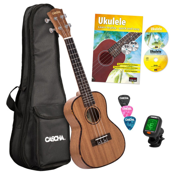 CASCHA Premium Concert Ukulele w/ CD+DVD, Tuner, Bag and Picks