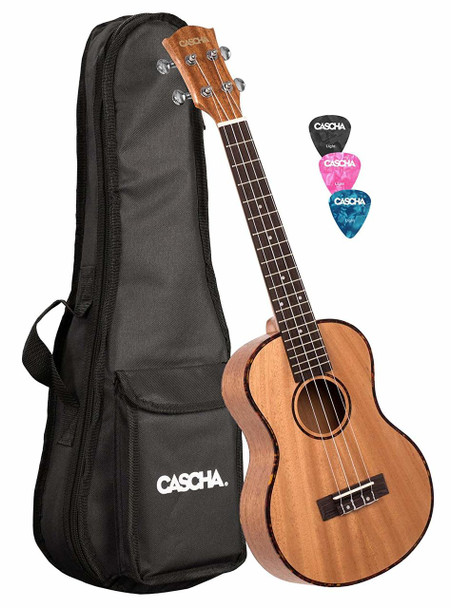 CASCHA Premium Mahogany Tenor Ukulele Set w/ AQUILA Strings, Bag & Picks